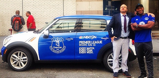 everton mini cooper epl Premier League Mini Coopers Spotted On the Streets of New York City [PHOTOS]