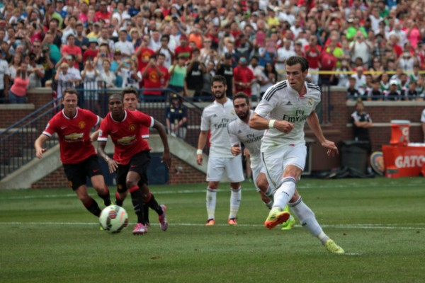 gareth bale penalty 600x400 Manchester United 3 1 Real Madrid: International Champions Cup [PHOTOS]