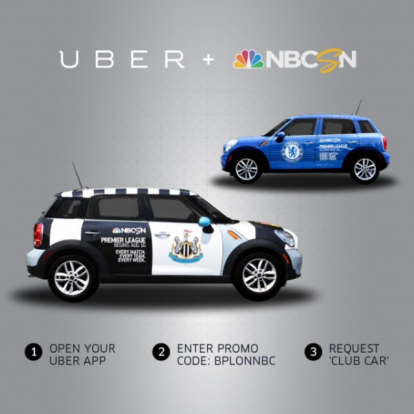 nbc uber minis 600x600 NBC Sports and Uber Launch Fleet of Premier League Mini Coopers in New York City [PHOTOS]