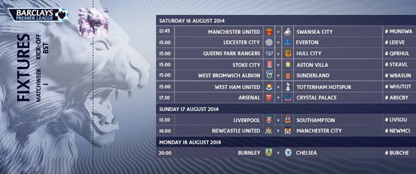 Epl fixtures time today tecnologia wan epl scores