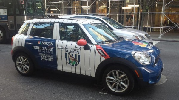 wba 2 uber nbc 600x337 Premier League Mini Coopers Spotted On the Streets of New York City [PHOTOS]