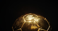 The FIFA Ballon d'Or trophy sits on show