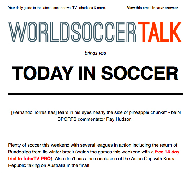 Subscribe to the World Soccer Talk Email Newsletter for Soccer TV