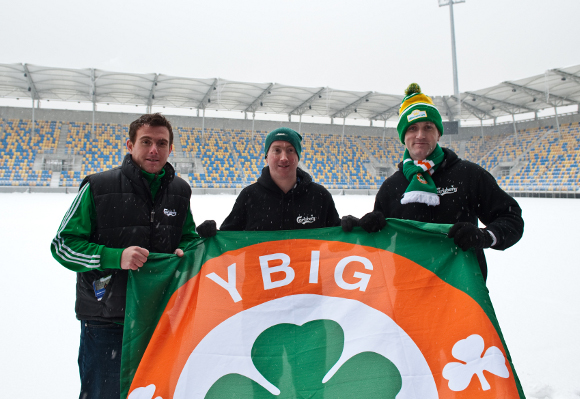 February 2012: You Boys in Green's Ger Keville (left)  Liam Murray (centre) and David Byrne (right) inside Stadion GOSIR, home of Arka Gdynia, where the Republic of Ireland will train during the championships. Gydnia, Poland . Picture credit: John Barrington