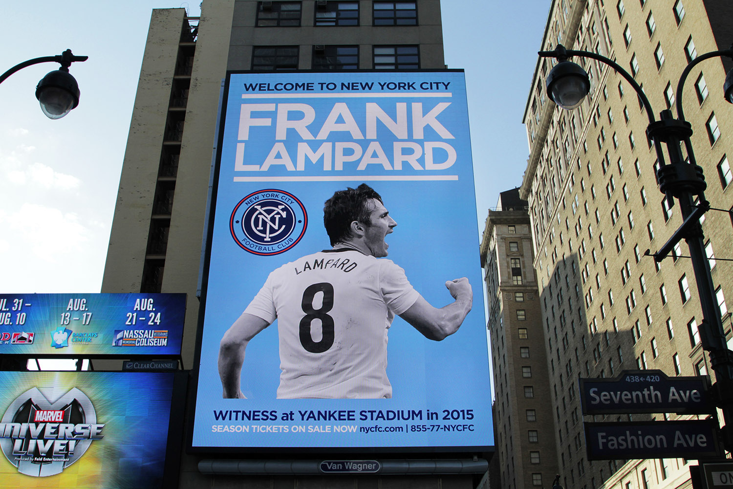 "Frank Lampard gets giant ""Welcome To New York City"" billboard"