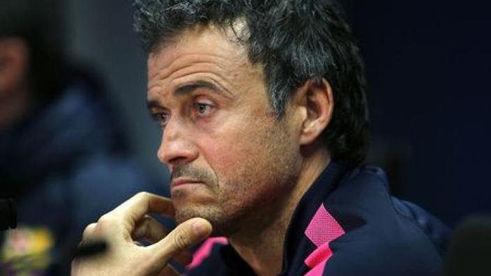 Barcelona's coach Enrique attends a news conference at Ciutat Esportiva Joan Gamper in Sant Joan Despi
