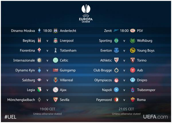 europa league timetable