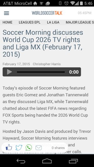 Download the World Soccer Talk apps for Android and Apple iOS