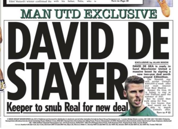 David de Gea to sign extension with Manchester United until June 2017, says report