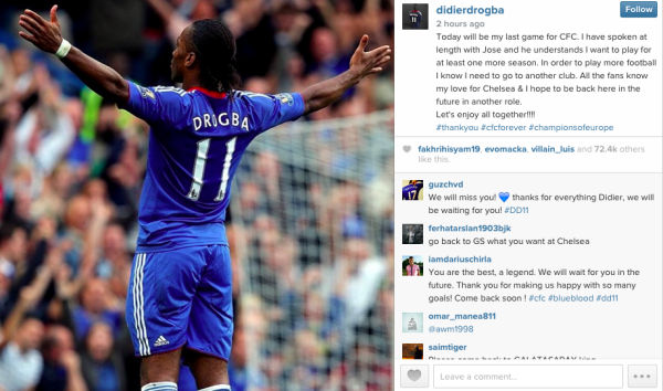 Didier Drogba announces departure from Chelsea