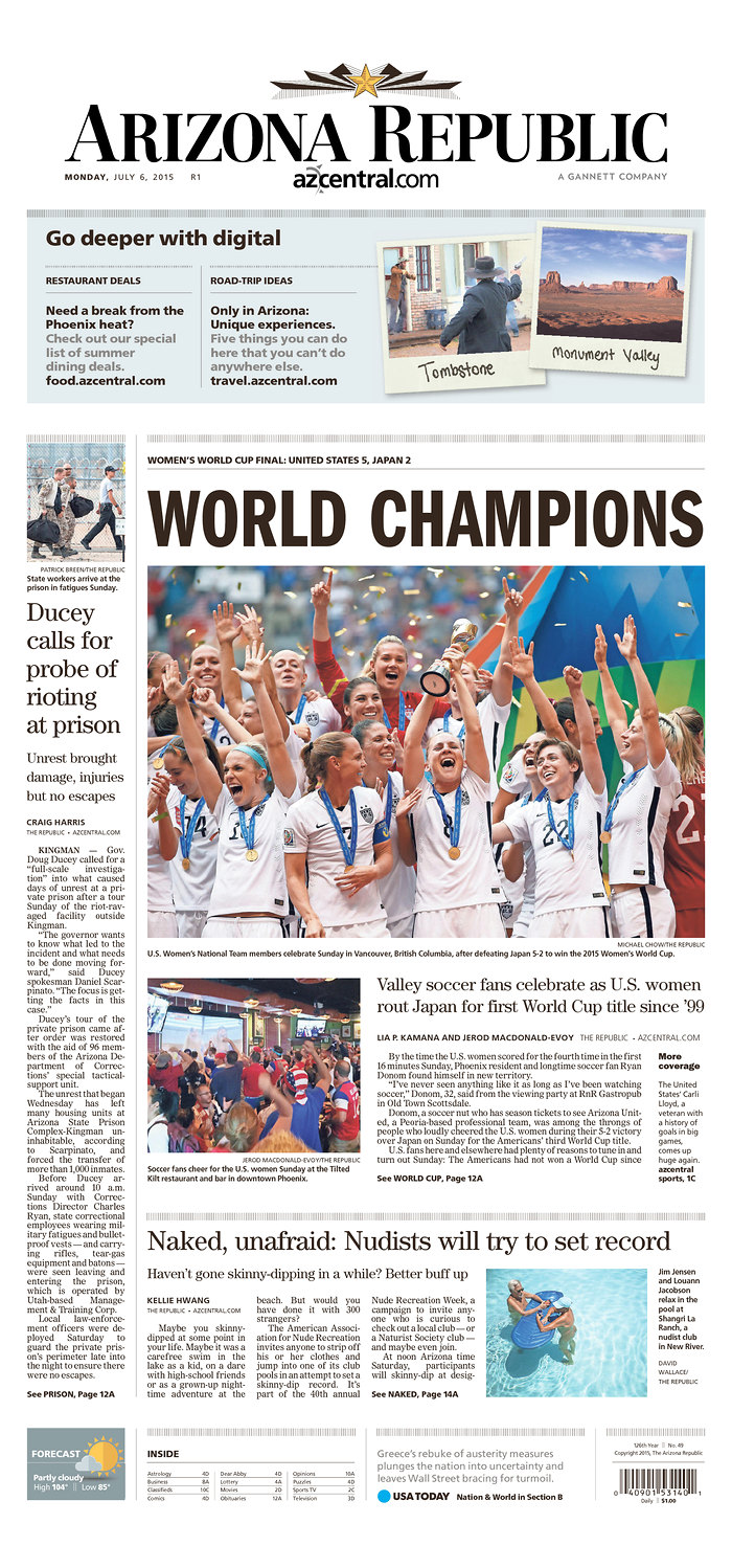 Newspaper Front Covers Herald USAs Womens World Cup