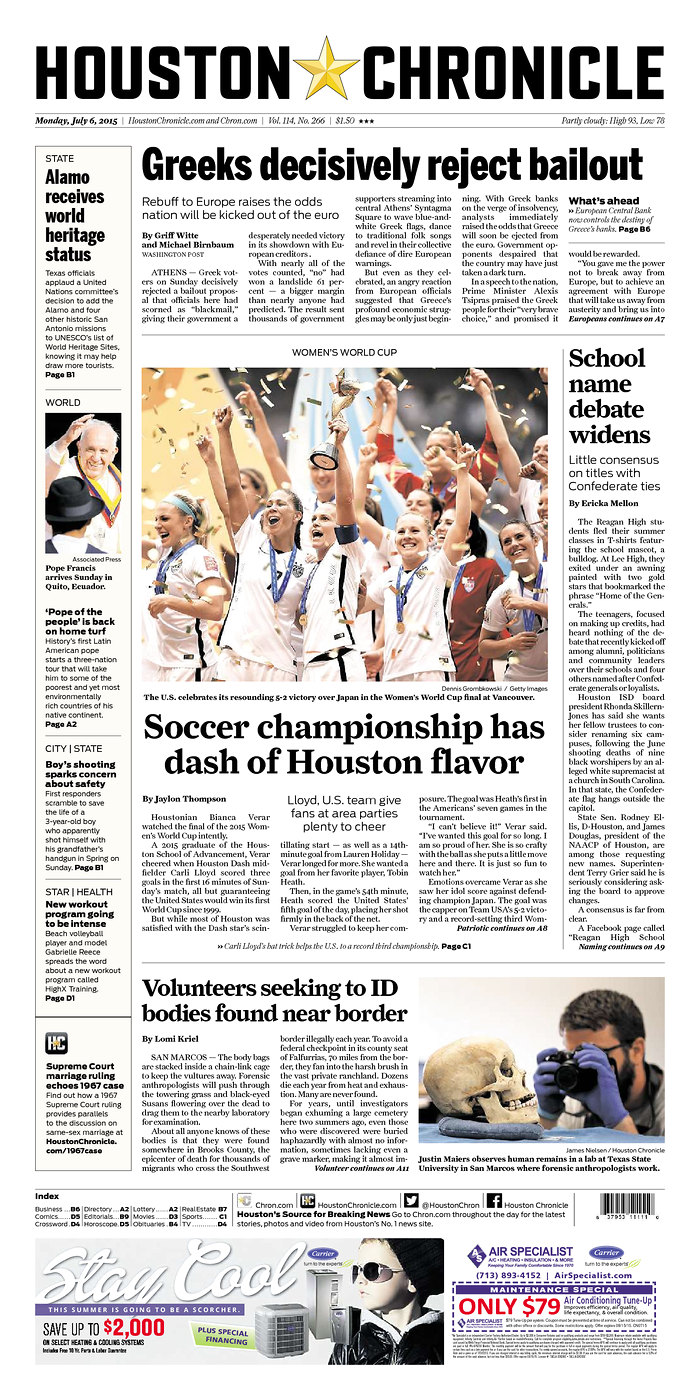 Newspaper front covers herald USA's Women's World Cup ...