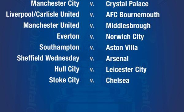 Capital One Cup fourth round draw: Chelsea to visit Stoke; Arsenal, United get Championship foes