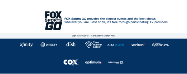 FOX Sports GO authentication page