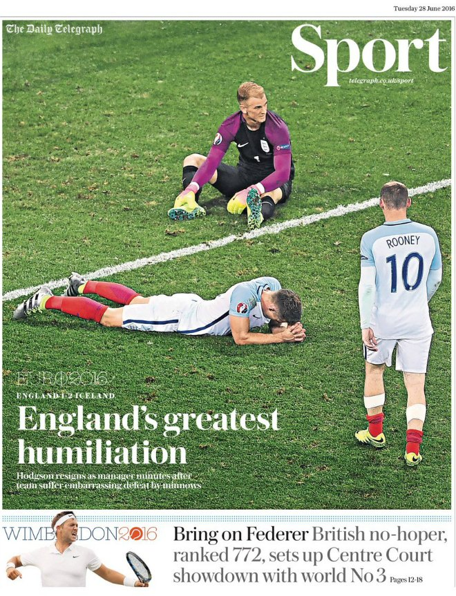 Image result for england iceland front page