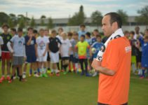 Former U.S. men's national team forward Landon Donovan delivered a special presentation about heat safety and hydration to athletes on behalf of Gatorade's Beat the Heat program at IMG Academy in Bradenton, Fla.,