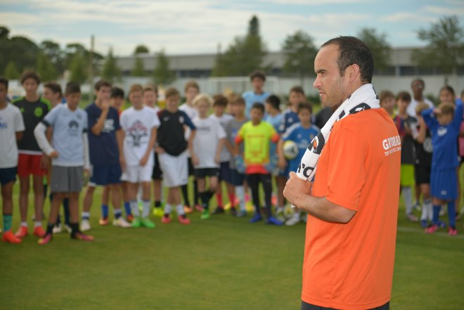 Former U.S. men's national team forward Landon Donovan at IMG Academy in Bradenton, Fla. where he delivered a presentation about heat safety and hydration to athletes