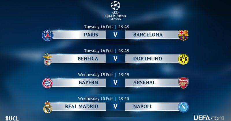champions league fixtures today