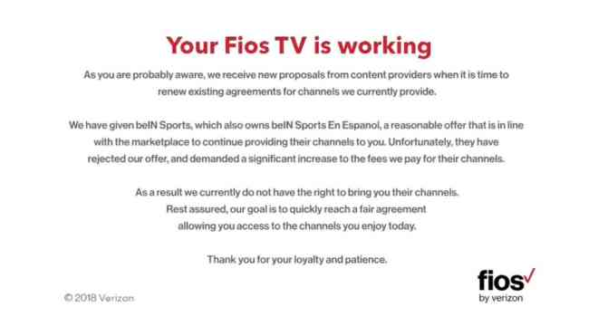 Verizon Fios removes beIN SPORTS from its programming