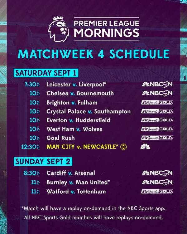 EPL commentator assignments on NBC Sports, Gameweek 4 - World Soccer Talk