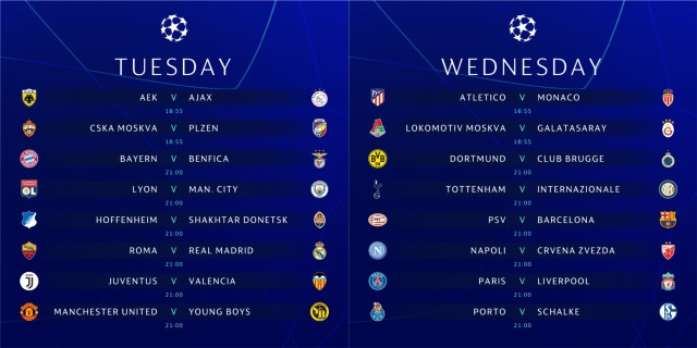 Champions League TV schedule for USA: November 27-28, 2018