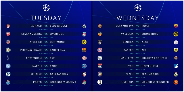 champions league schedule for us tv and streaming november 6 7 world soccer talk world soccer talk
