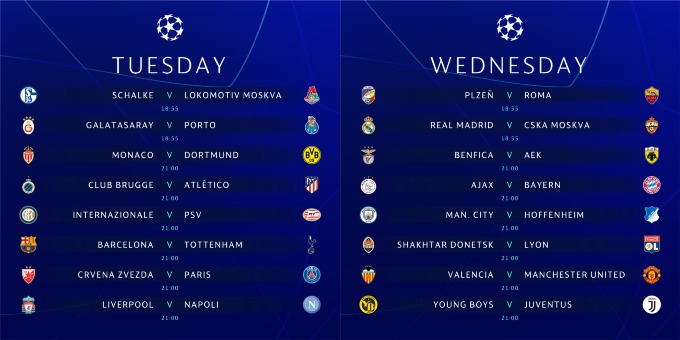 Champions League schedule for US TV and streaming for December 11-12
