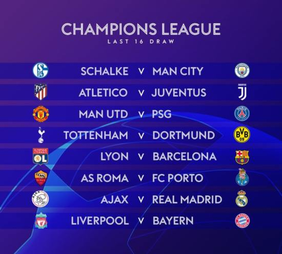Champions League games on US TV and streaming: Round of 16