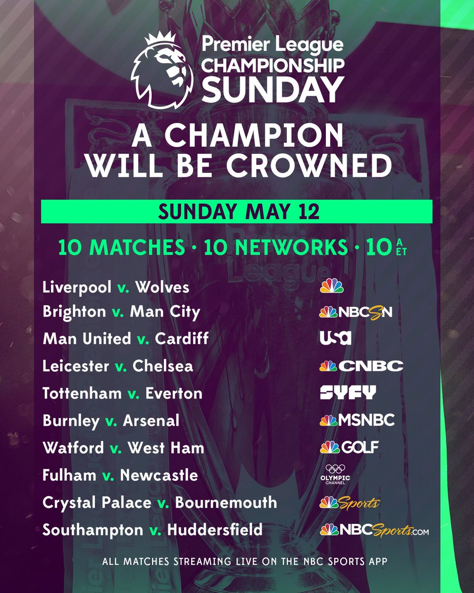 EPL commentator assignments on NBC Sports, Gameweek 38