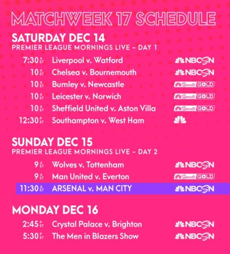 EPL commentator assignments on NBC Sports, Gameweek 17