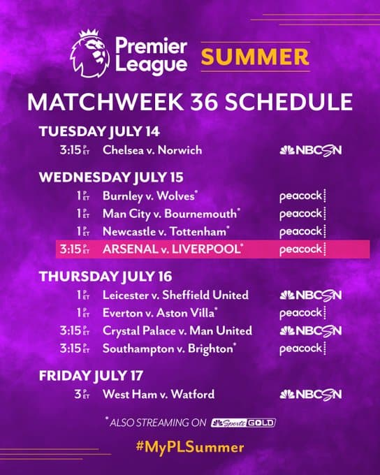 EPL commentator assignments on NBC Sports, Gameweek 36 - World Soccer Talk